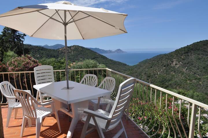Maison avec terrasse et vue dominante sur la mer