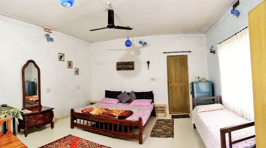 Spacious bedroom with ceiling fan.