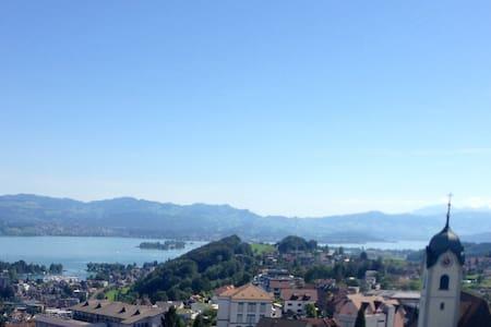 Den Zürichsee zu Füssen, die Berge im Hinterland - Wollerau
