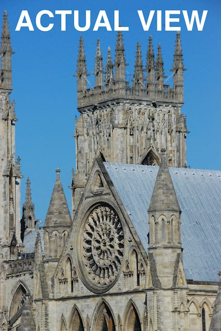 This is a close up actual view from the apartment of York Minster