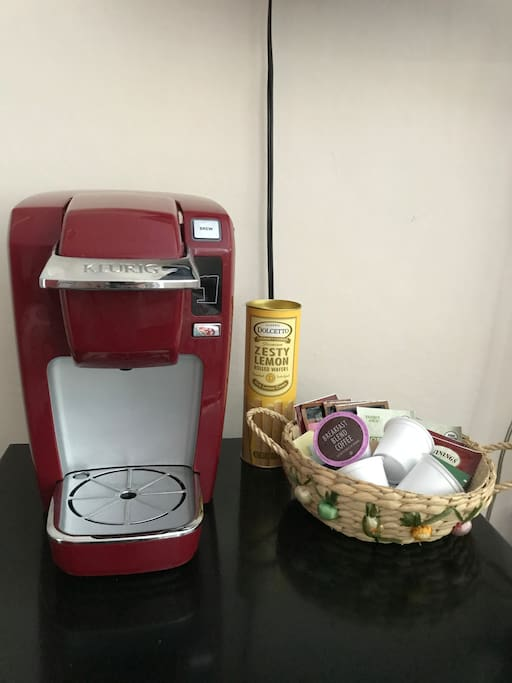 Your own Keurig sits atop your own small fridge/freezer