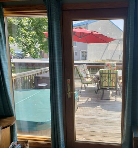 view of waterfront deck from great room