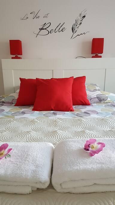Draps de lit et serviettes fournies