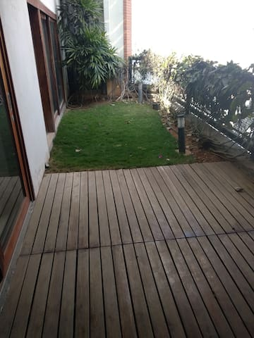 Deck and garden outside the room