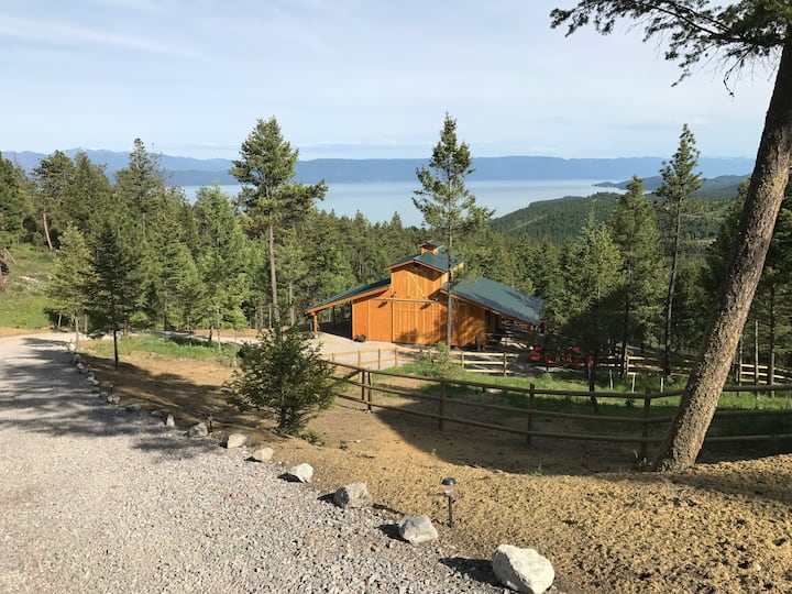 Elegant Barn Cabin above Flathead Lake with views
