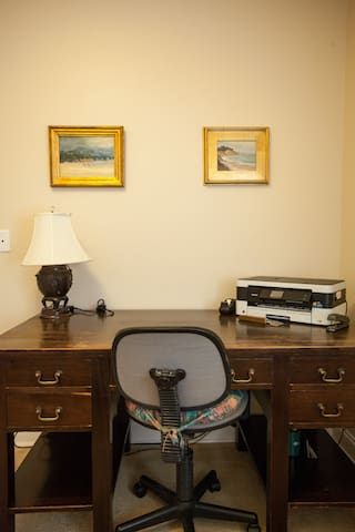 The office bedroom has a single twin bed and a full desk with printer.  We know it's not always possible to completely step away from work on the road.