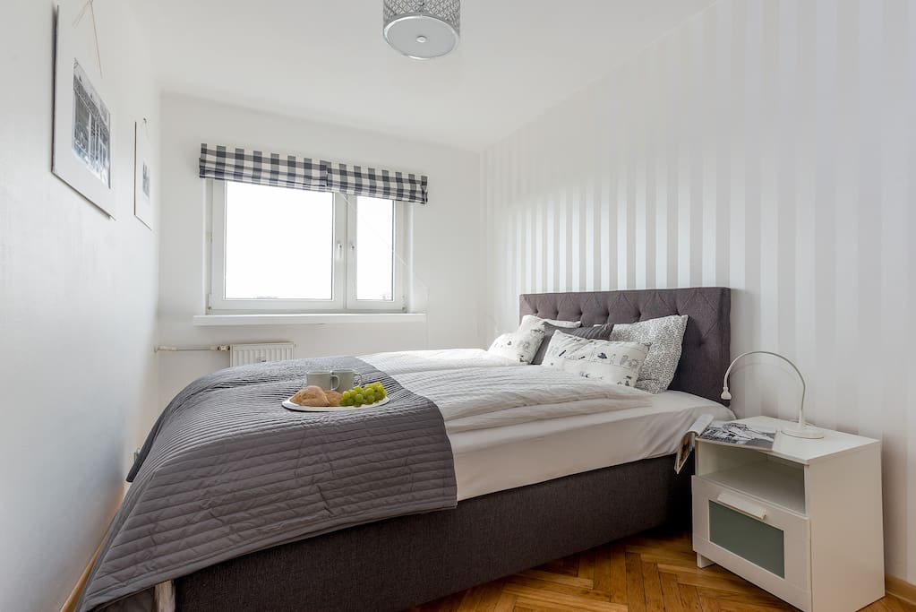 Separate bedroom with a double bed