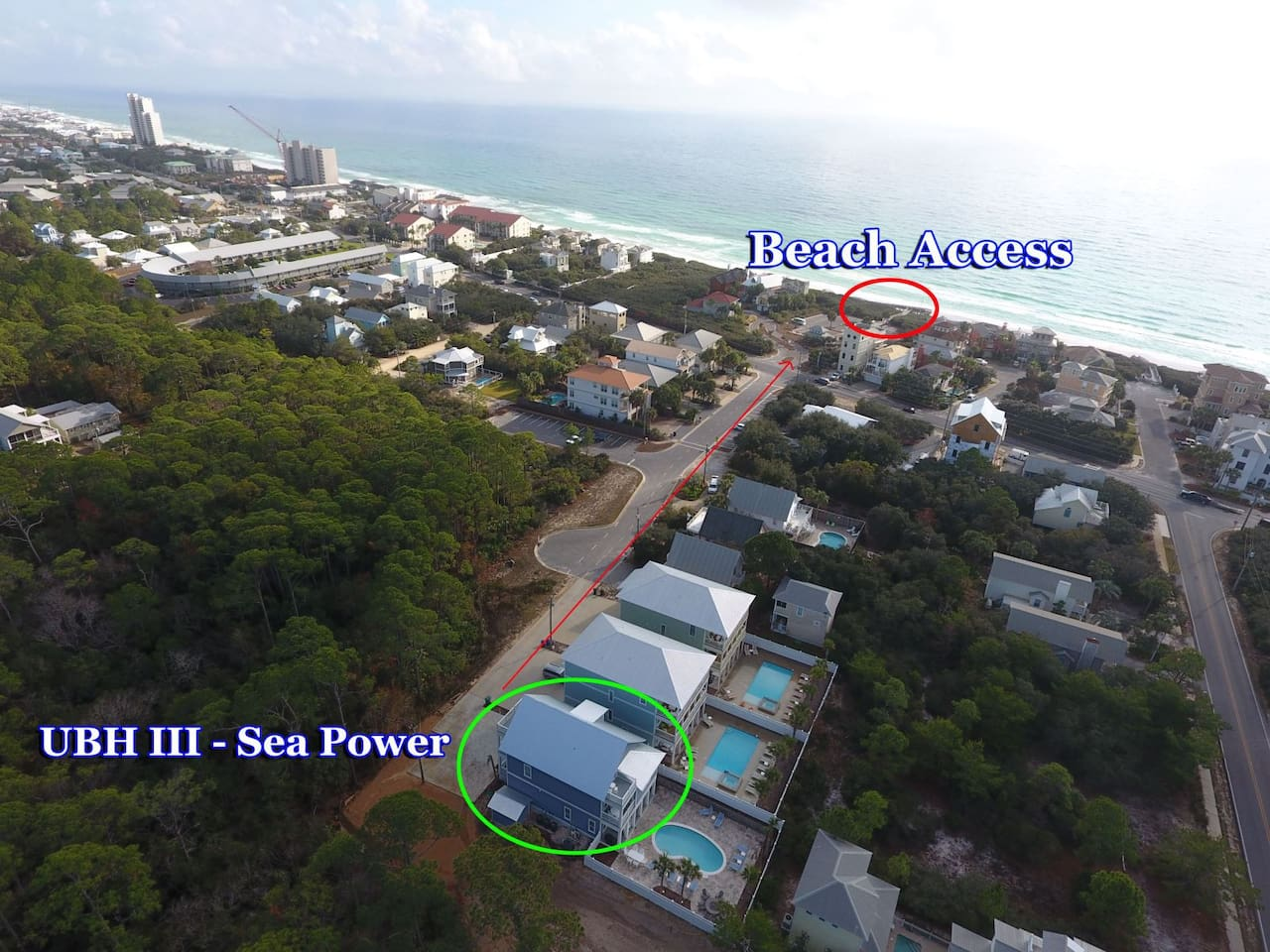 Aerial view of home and beach access