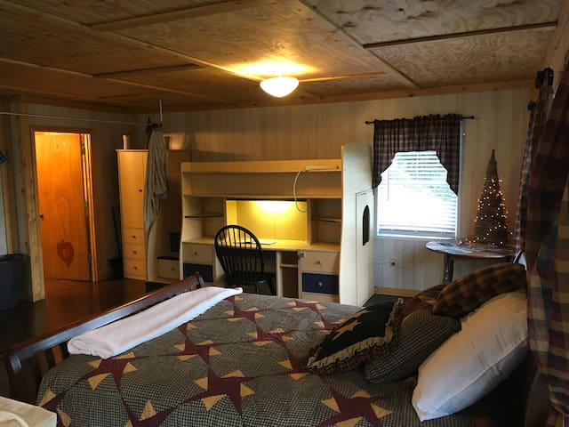 Sleep in a queen-sized bed. The couch also pulls out to make a bed. The apartment can sleep up to five people.