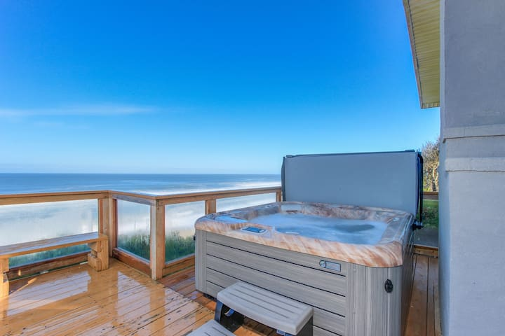Oceanfront home w/ private hot tub, terrific views, and space for 16 guests