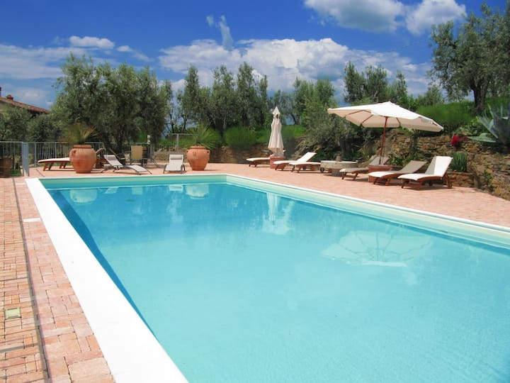 Tuscan apartment view, terrace and Pool ,Vinci-