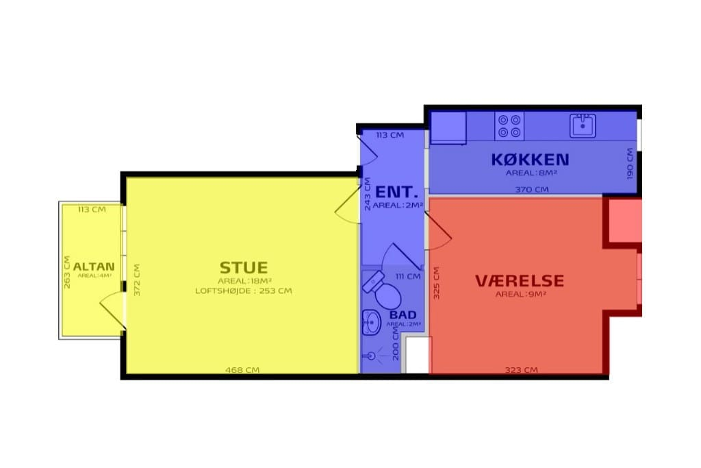 Yellow: Your space  Blue: Shared space  Red: My private room