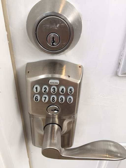 A keypad on the door means no key to lose.  Your own keypad code ensures your safety.