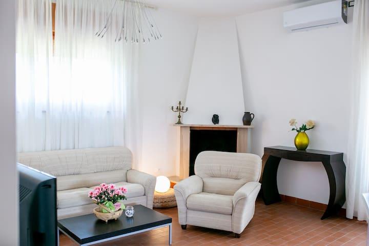 Angolo relax con due poltrone, divano letto, tavolino e tv