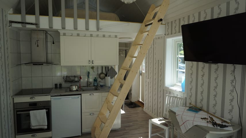 The stairway leads to the bedrom upstairs. The ladder can easily be raised to a horizontal position to grant access to kitchen drawers.