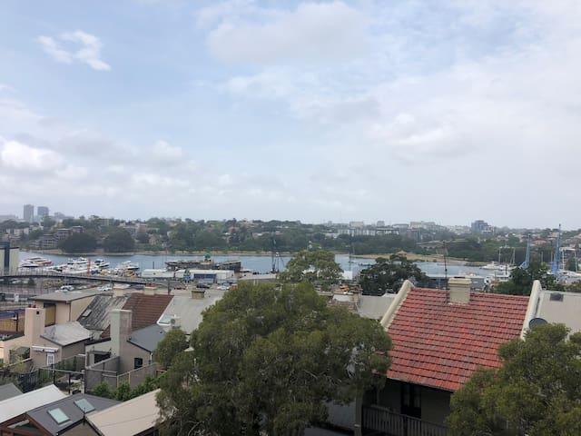 Beautiful ANZAC bridge view and 1 bus stop to City