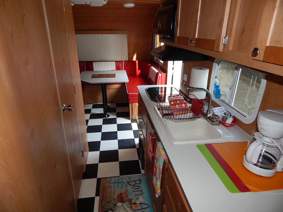 Kitchen counter and dinette table. Enjoy coffee (provided) in the morning.