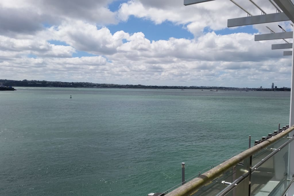 Tranquil north westerley view of the upper Waitemata Harbour from the apartment balcony