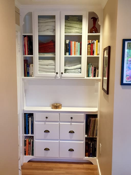 Built-in with plenty of books to enjoy
