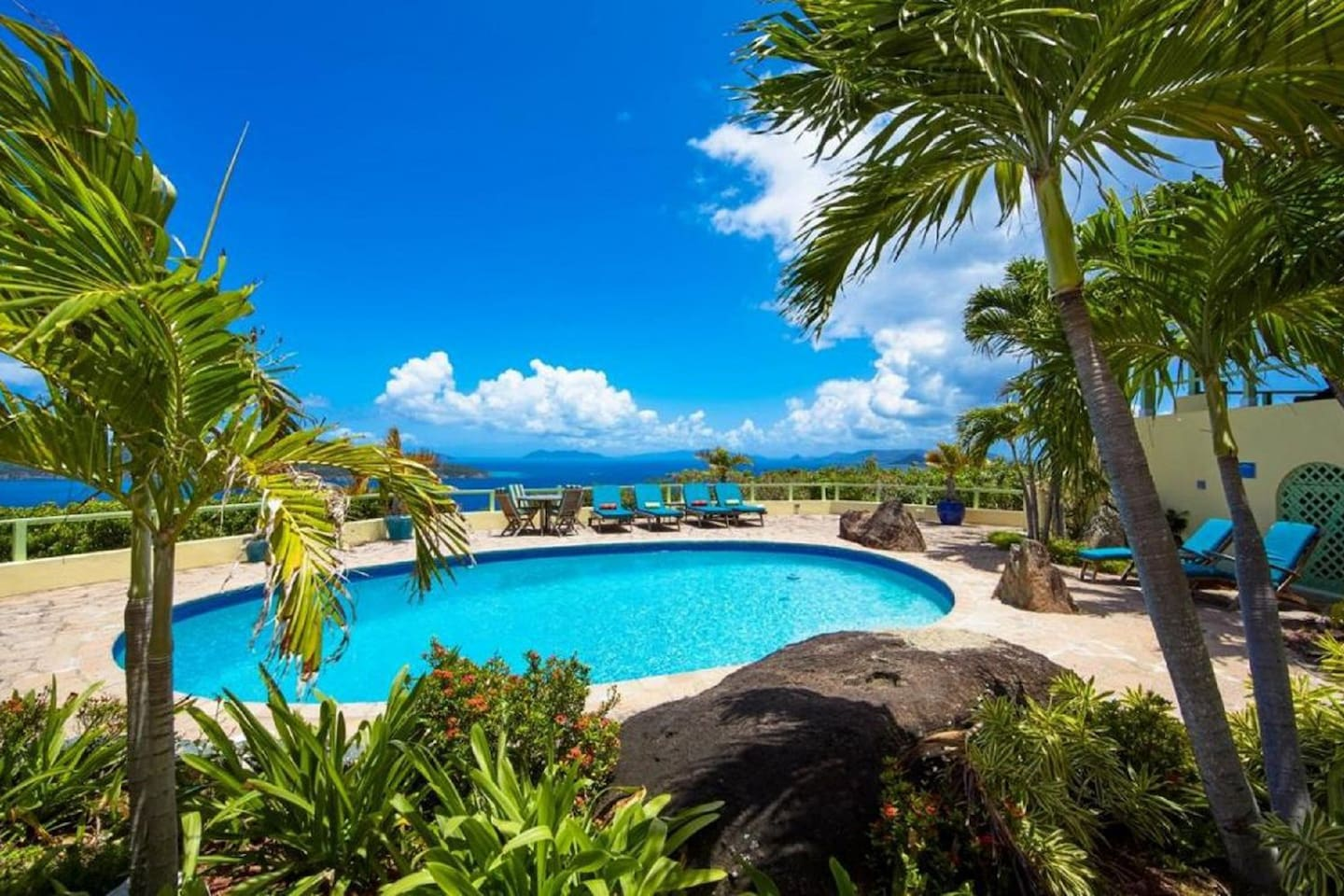 Expansive Pool Area from the Gardens Overlooking Caribbean Ocean and Hans Lollik