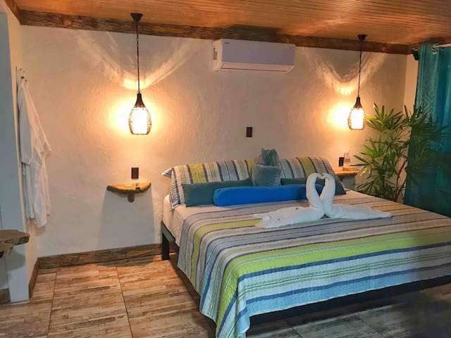King size orthopedic bed + A/C❄️ + Smart T.V of with cable + super romantic atmosphere...!!