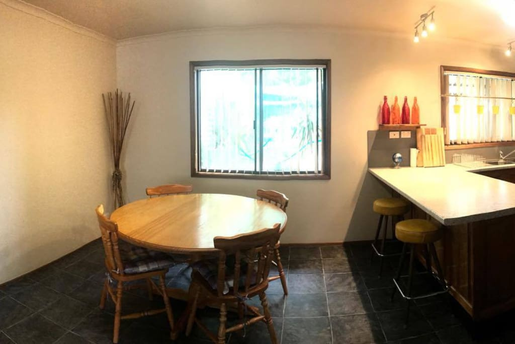 Beautiful modern kitchen with all modcons including dishwasher.  Dining table, seats four, plus two stools under bench.