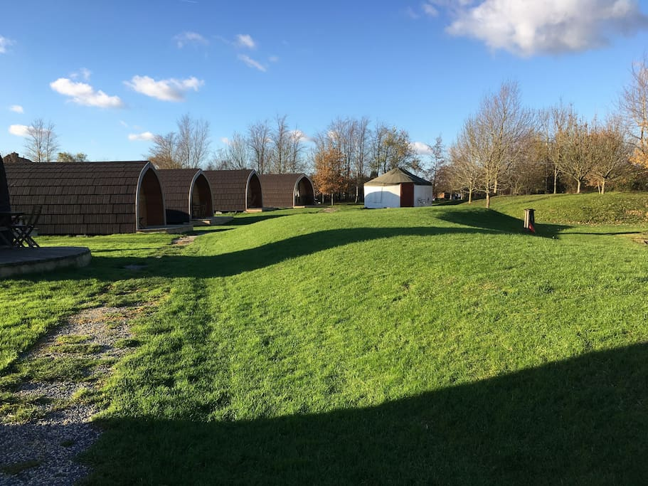 View towards the new pods and Yurt
