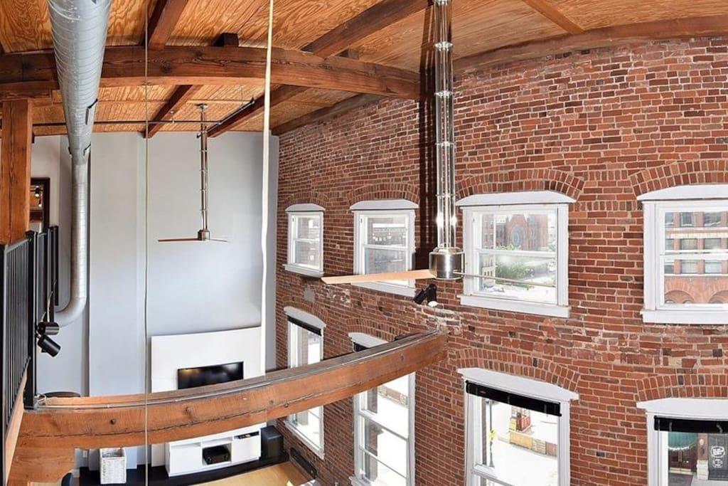 Exposed brick and beams