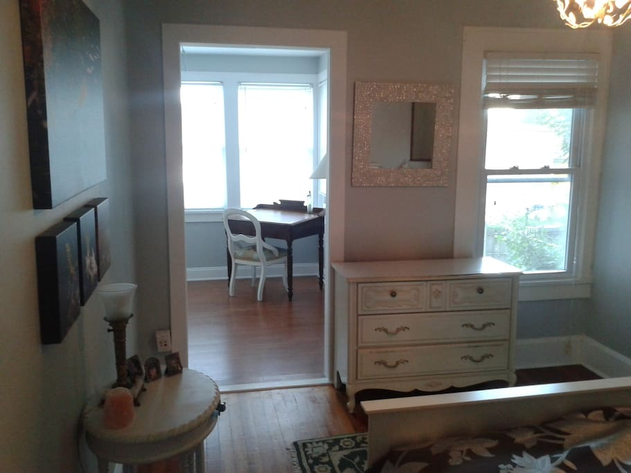 The bedroom and sunroom