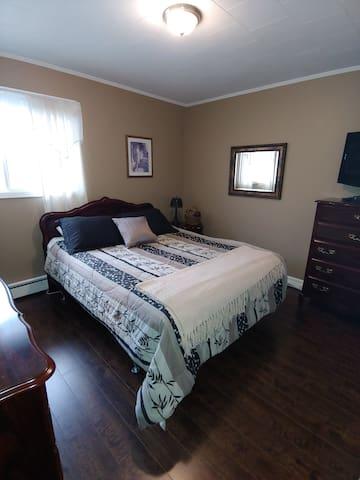 Queen size bed , bedroom  Upstairs