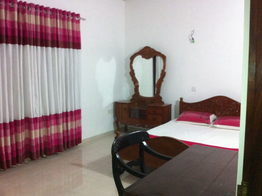 Furnished room with a full size bed. Master room of the house