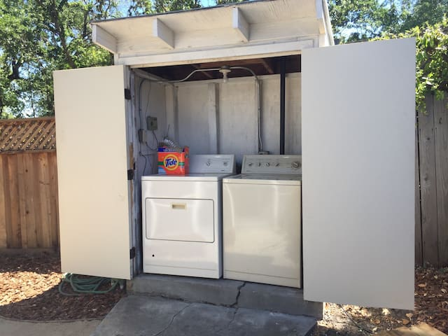 Washer and dryer in outside closet