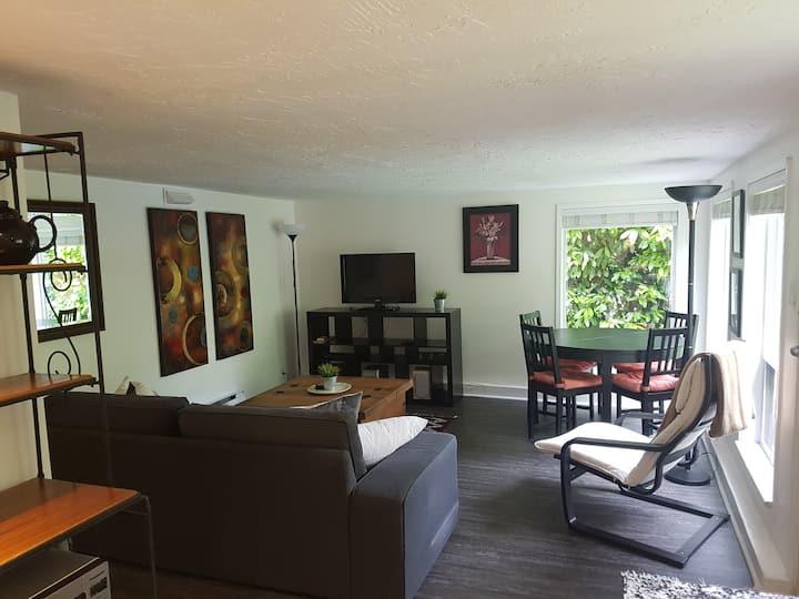 Bright cozy garden suite