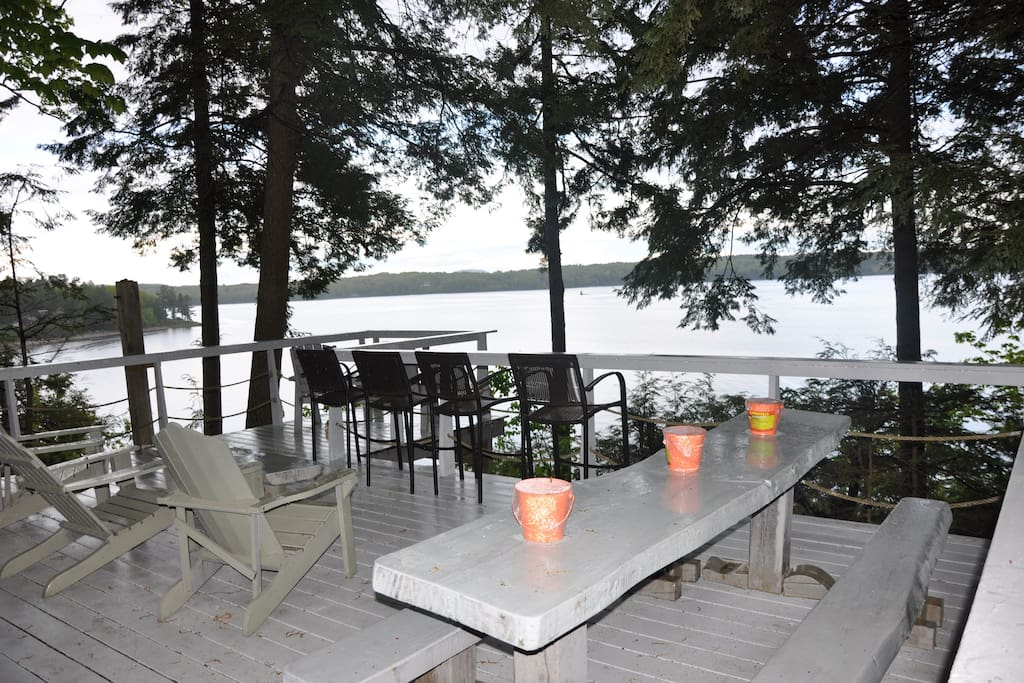 Large deck looking on The Penobscot, seating for 20