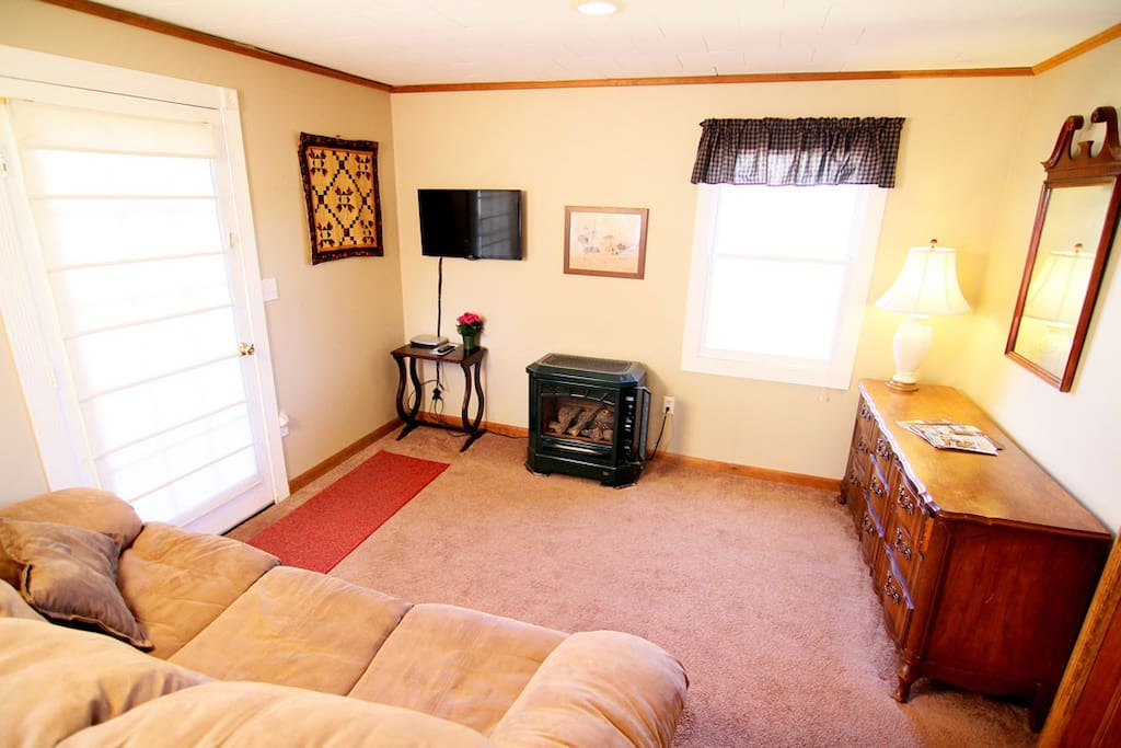 Delaware room - gas fireplace, private entrance to the parking lot/backyard. AC in window in season.