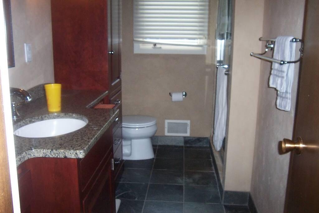 Bathroom with heated floors.