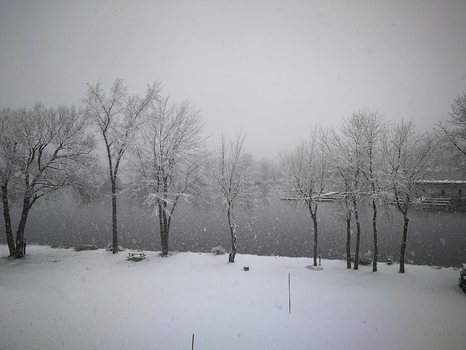 Vue du balcon l'hiver