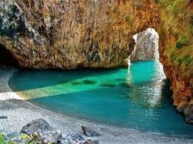 "San Nicola Arcella "" Arco Magno"" A beautiful natural beach cove..less then 10 minute drive from villa."