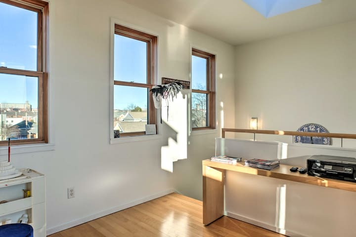 Get some work done and view the city through the large windows.