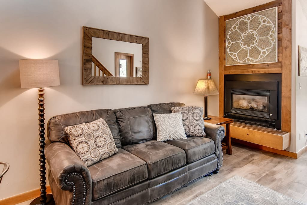 New Living Room Furniture and Gas Fireplace
