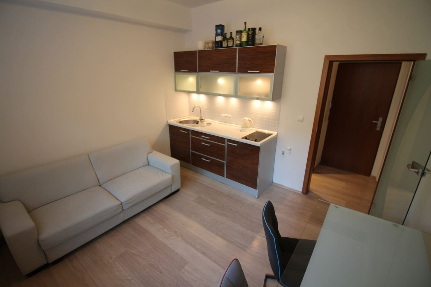 In this picture is old sofa and table (there is new one bed[sofa] and table which you can see on other photos)