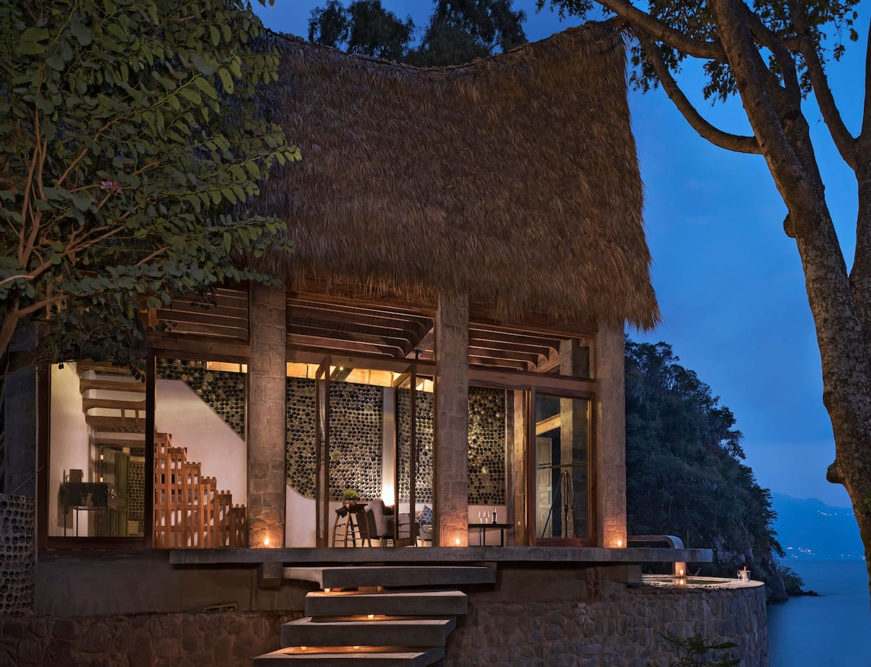 Exterior of suite at dusk.