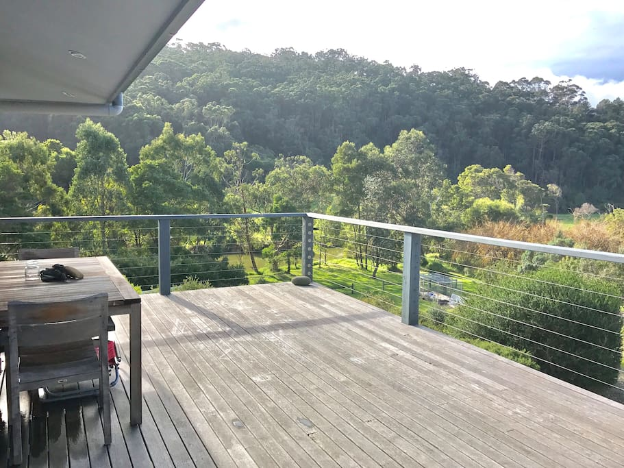 Deck with river, forrest and ocean views