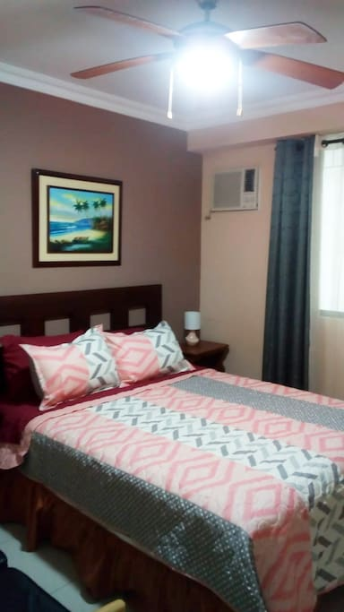 Bed Room 1, A/C, queen bed and ceiling fan