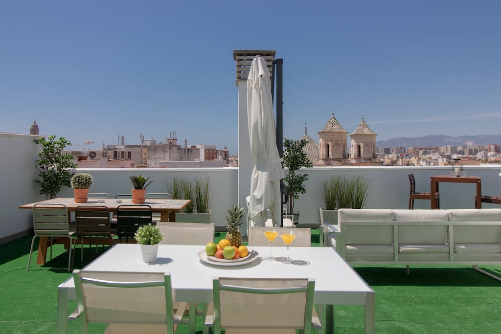 Amazing view from the shared rooftop terrace