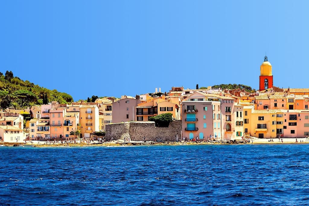 View from the sea of St Tropez.