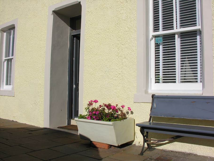 Outside bench and planter