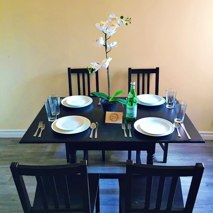 Well-lit dining room