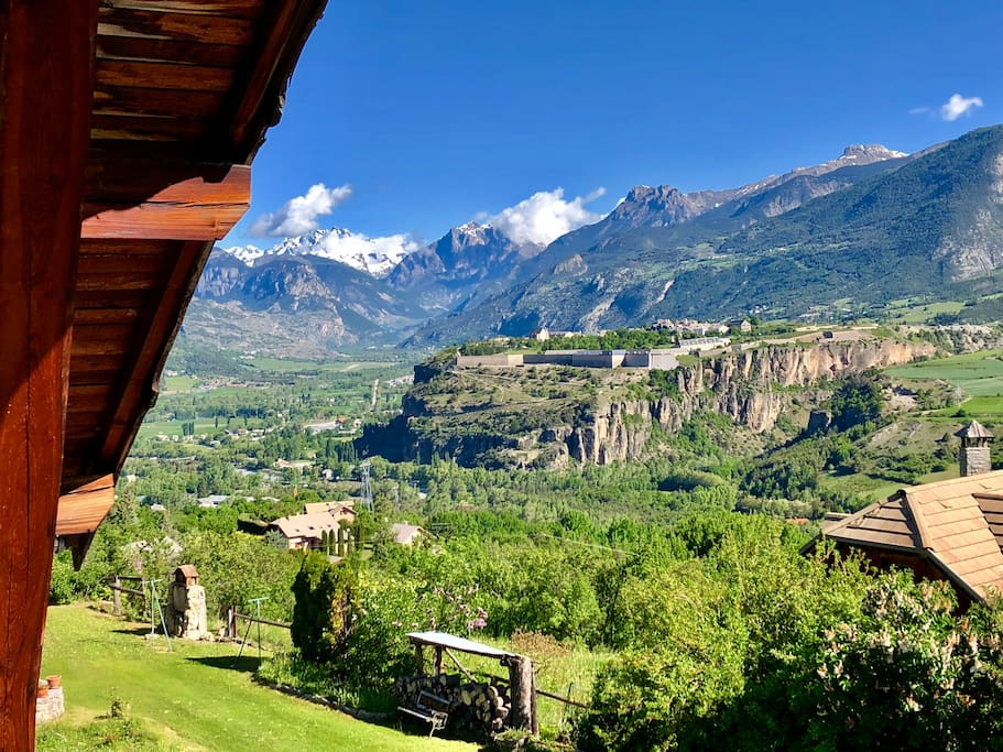 View over the ecrins massif and Mont Dauphin from the balcony