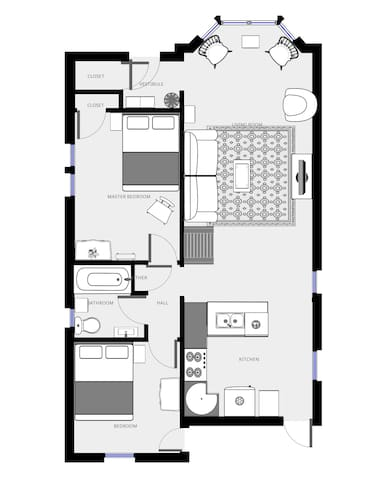 This is the layout of this unique studio. We designed our guesthouse with you in mind such that it is comfortable, and it has everything you could possibly need.